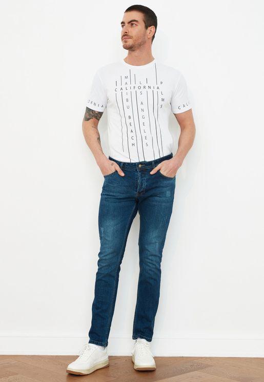 Mid Wash Destroyed Skinny Fit Jeans