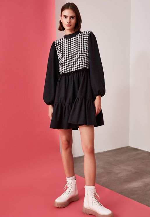Checked Detail Dress