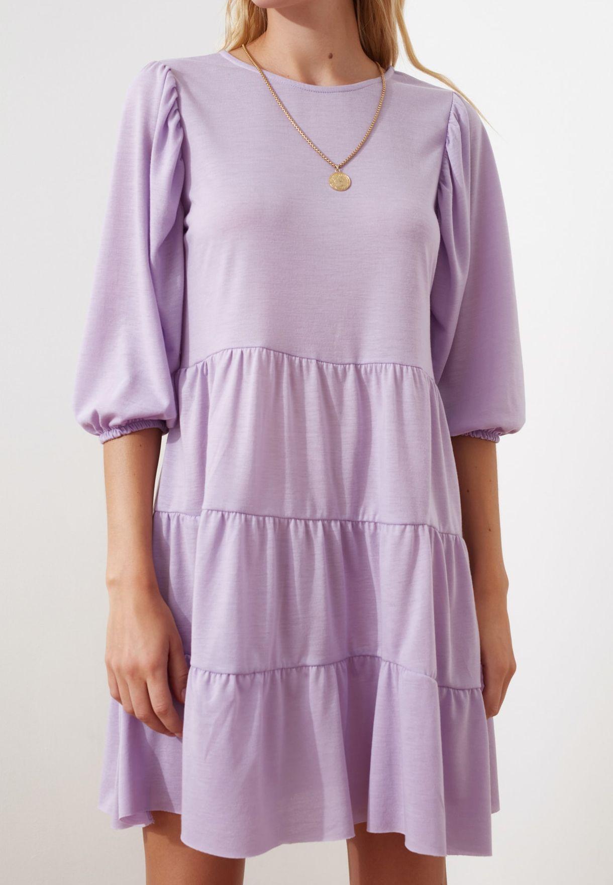 Flounce Hem Knitted Dress