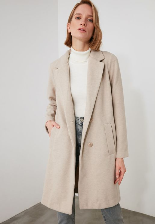 Buttoned Detail Coat