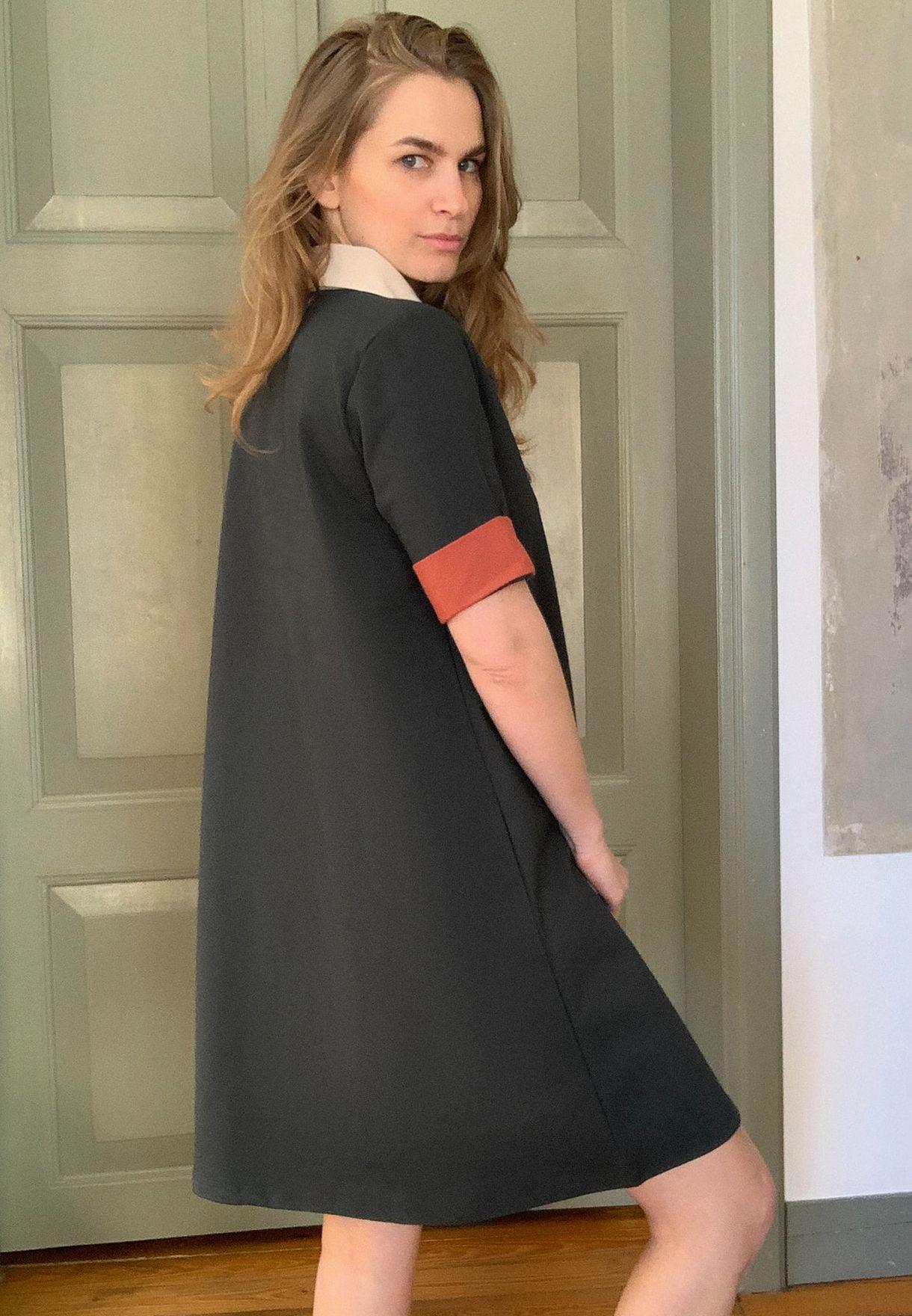 Collar Detail T-Shirt  Dress