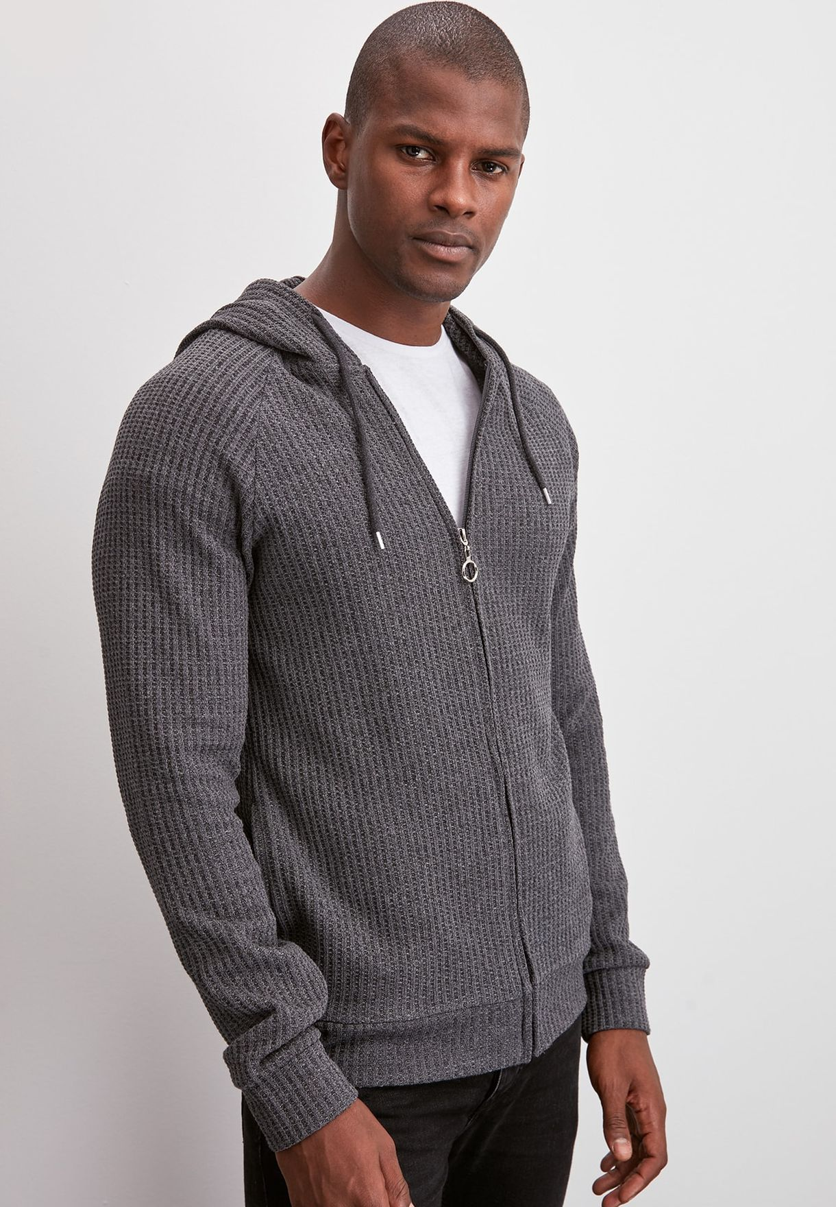 Knitted Zip Detail Hooded Cardigan