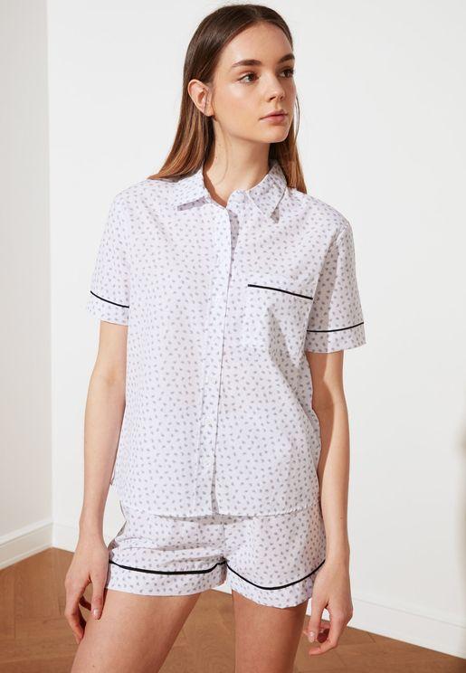 Piping Detail Shirt & Shorts Set