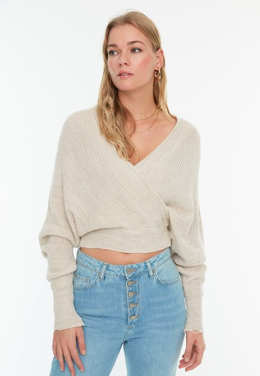Wrap Plunge Sweater
