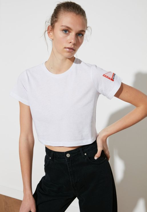 Embroidered Crop T-Shirt