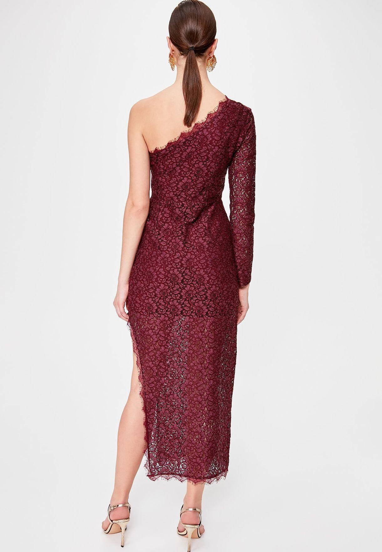 Side Split One Shoulder Dress
