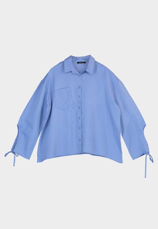 قميص فضفاض بأربطة اكمام