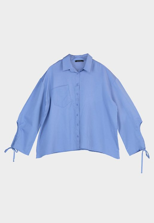 Tie Sleeve Oversized Shirt