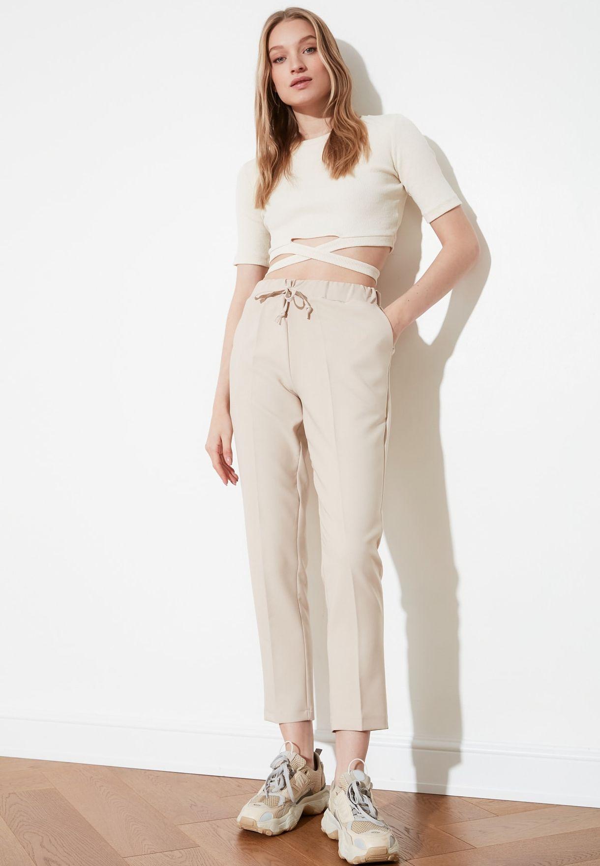 Tie Waist Crop Pants