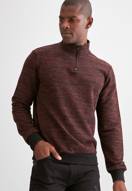 Textured Half Zip Sweatshirt