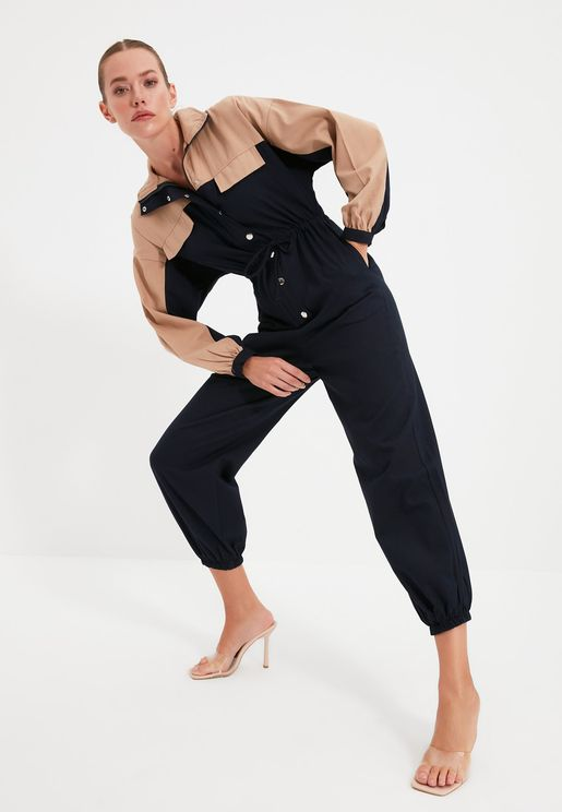 Colorblock Cuffed Jumpsuit