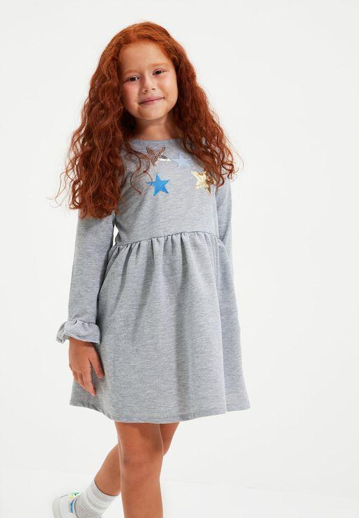 Kids Sequined Star Ruffle Dress