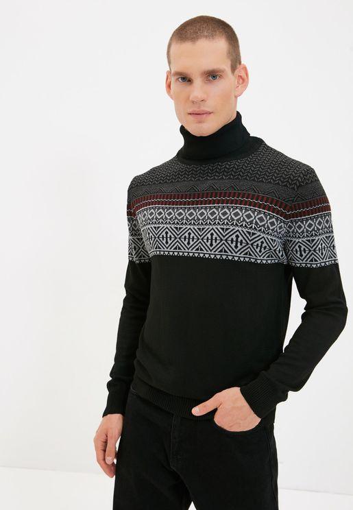 Jacquard Panel Turtle Neck Sweater