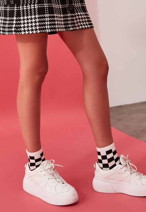 3 Pack Checked Crew Socks