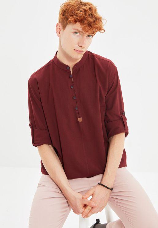 Grandad Collar Regular Fit Shirt