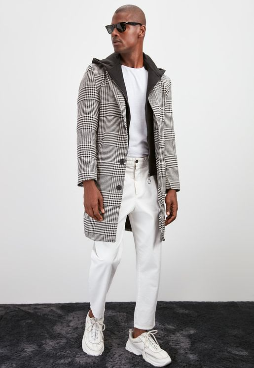 Checked Hooded Coat