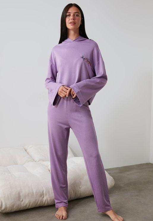 Embroidered Hoodie & Pyjama Set