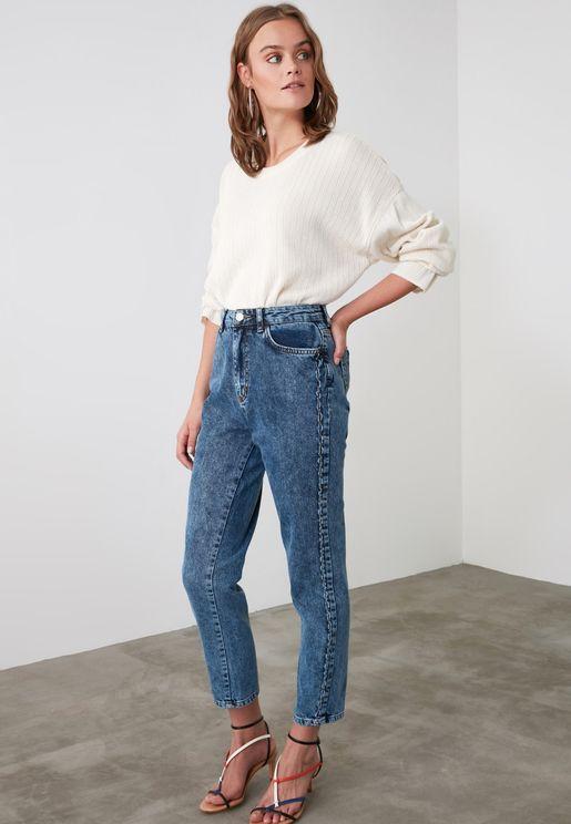 Seam Detail Mom Jeans