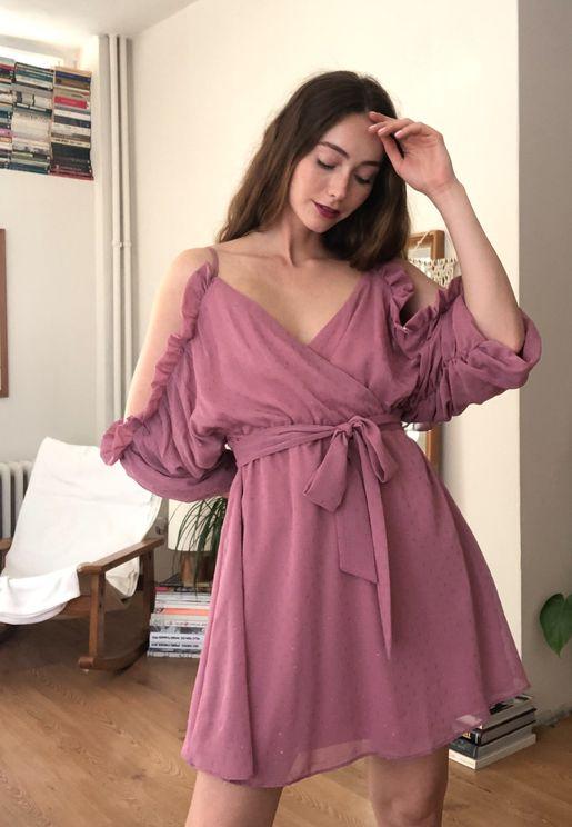 Ruffle Trim Cold Shoulder Dress