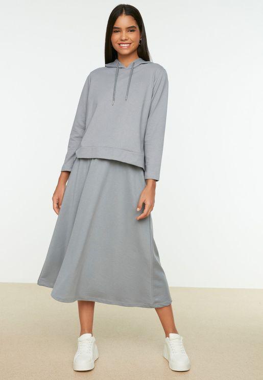 Knitted Hoodie & Skirt Set