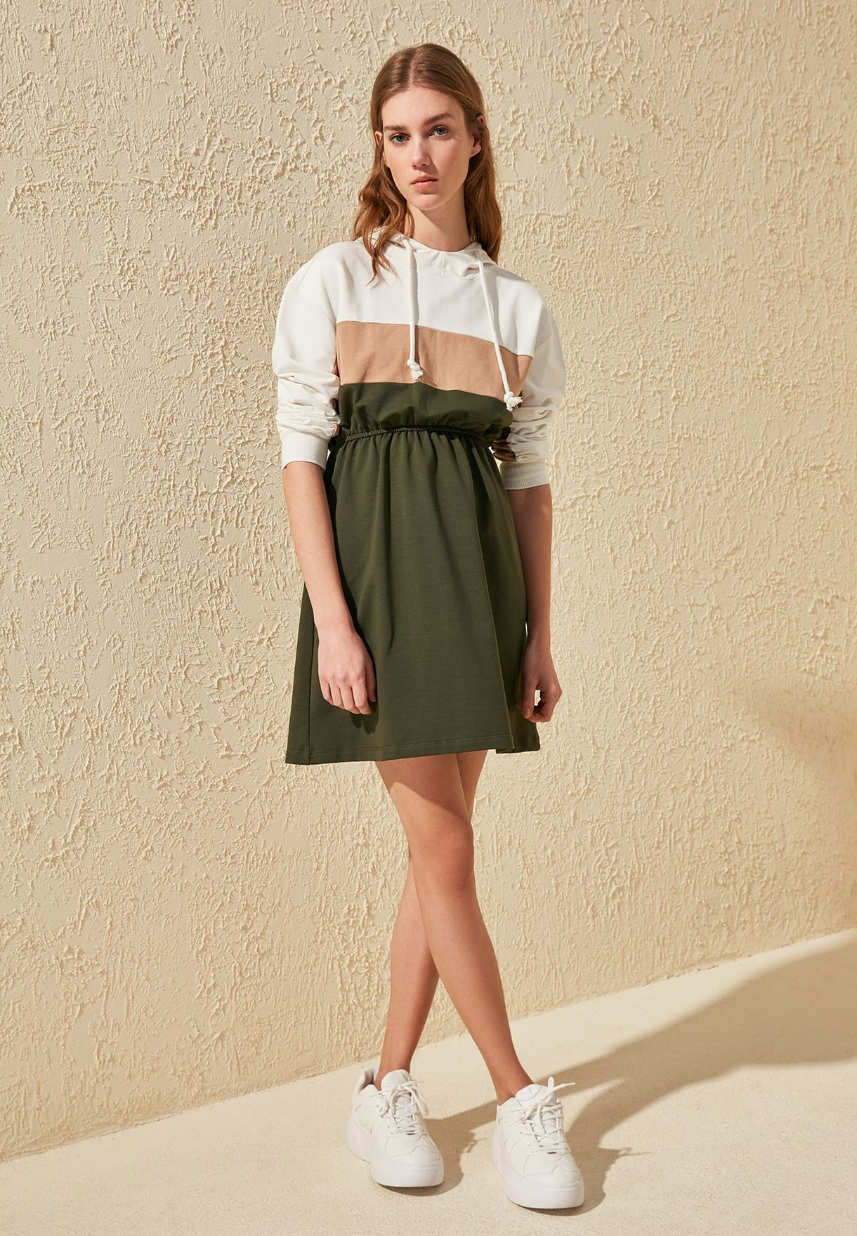 Buy Trendyol Multicolor Colorblock Hooded Sweat Dress For Women, Uae 27680at4uzqp
