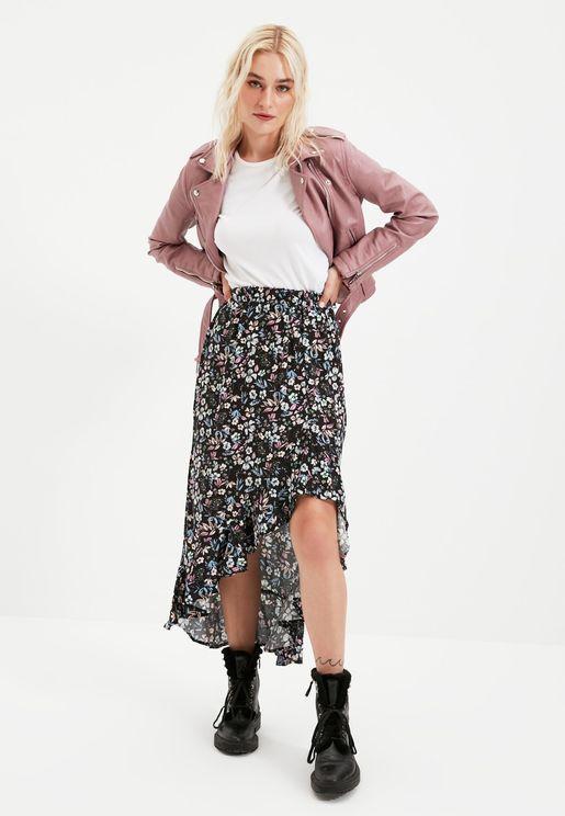 Floral Print Asymmetric Skirt