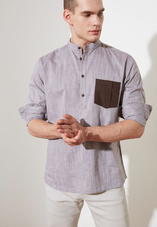 Contrast Pocket Regular Fit Shirt