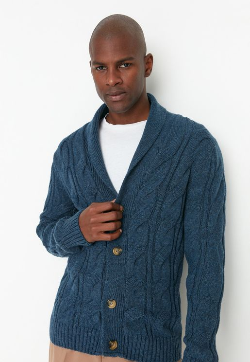Shawl Neck Cable Knit Cardigan