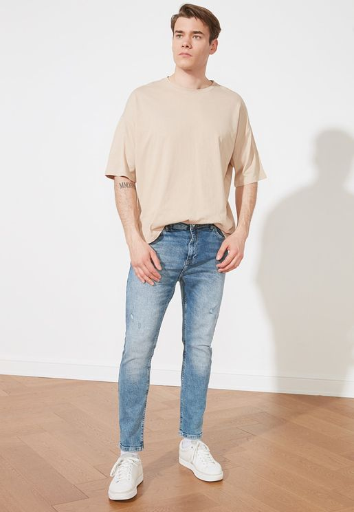 Ripped Detailed Normal Waist Slim Fit Jeans