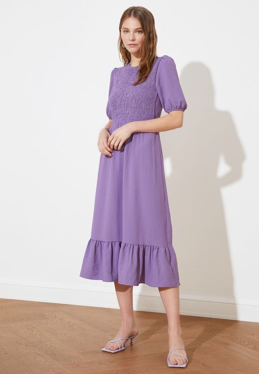 Crew Neck Shirred Dress