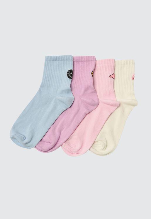 4 Pack Knitted Socks