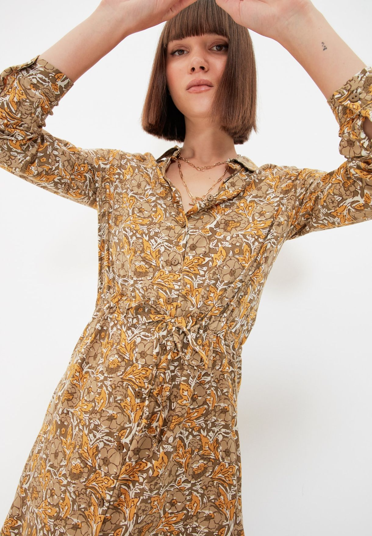 Drawstring Waist Printed Shirt Dress