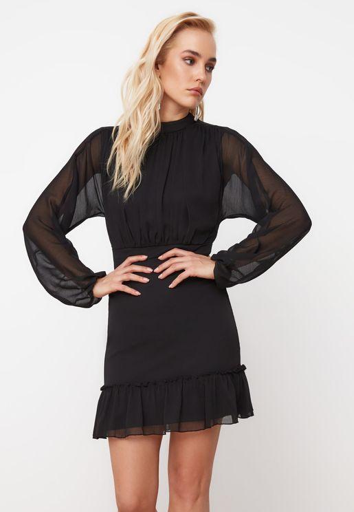 Mesh Sleeve Pleated Dress