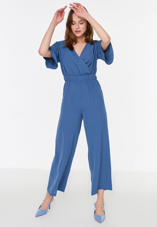 Wrap Front Wide Leg Jumpsuit