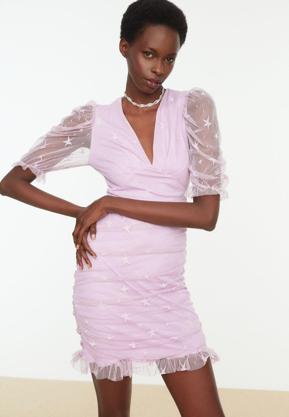 Puff Sleeve Mesh Detail Dress