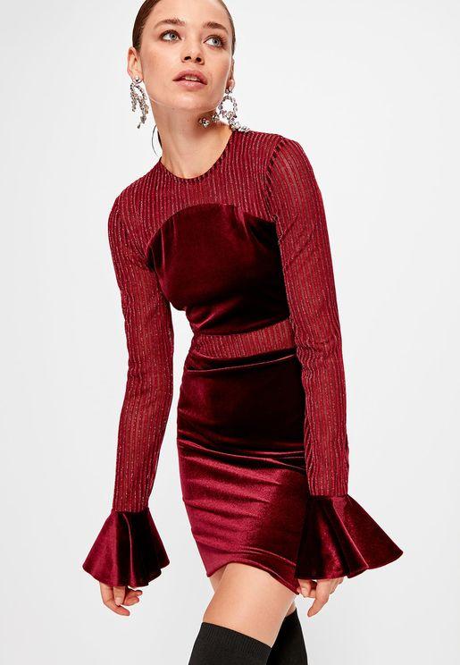 Flute Sleeve Mesh Bodycon Dress