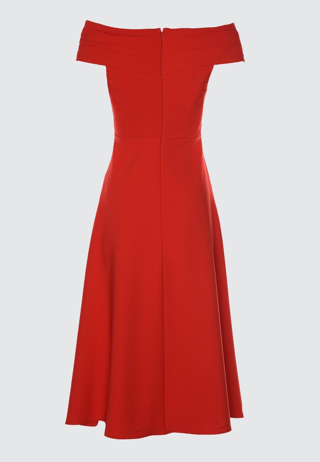 Wrap Front Bardot Dress