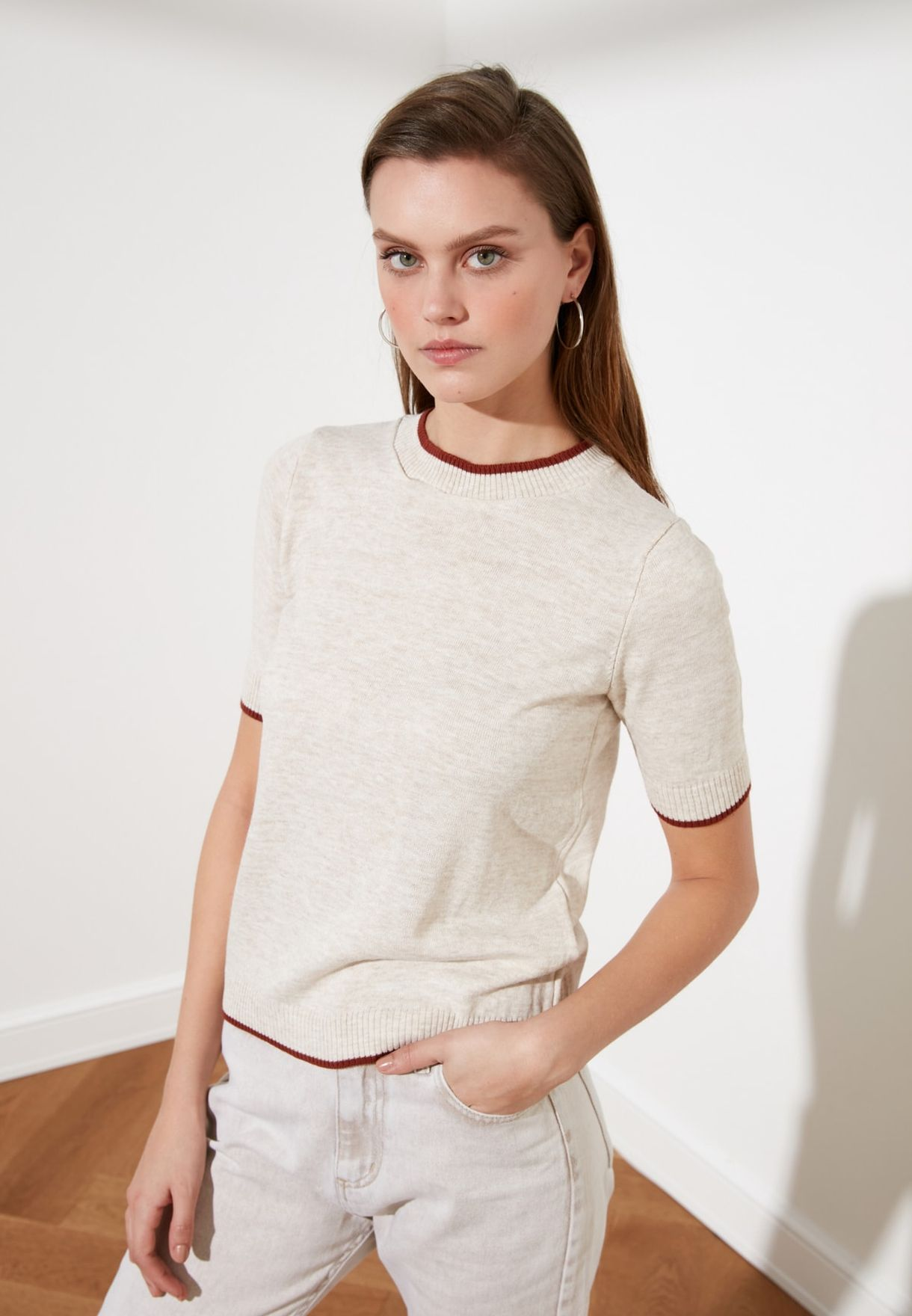 Contrast Detail Sweater