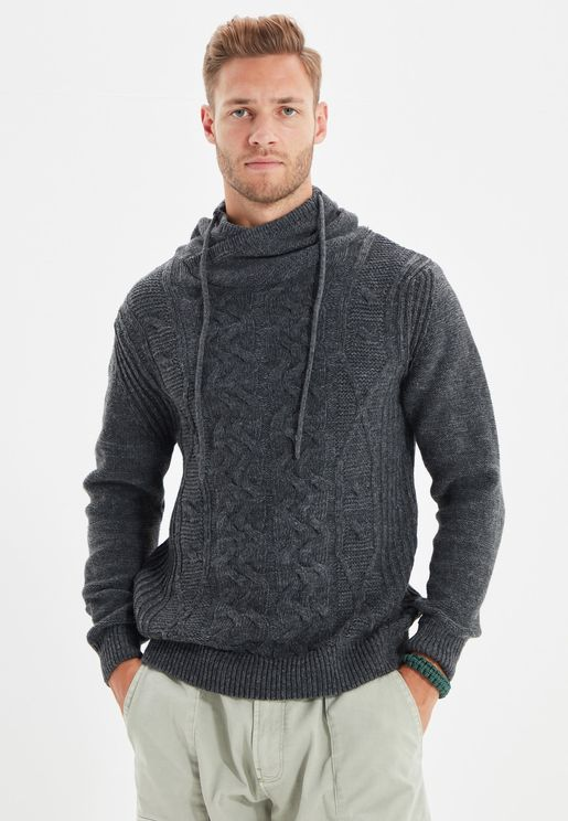 Shawl Neck Cable Knit Sweater