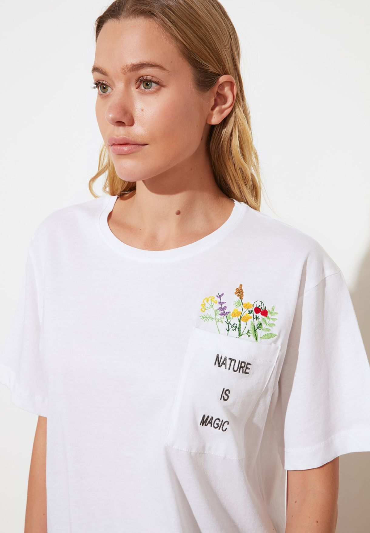 Embroidered Boyfriend Knitted T-Shirt