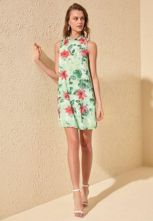 Floral Print Shirred Neck Dress