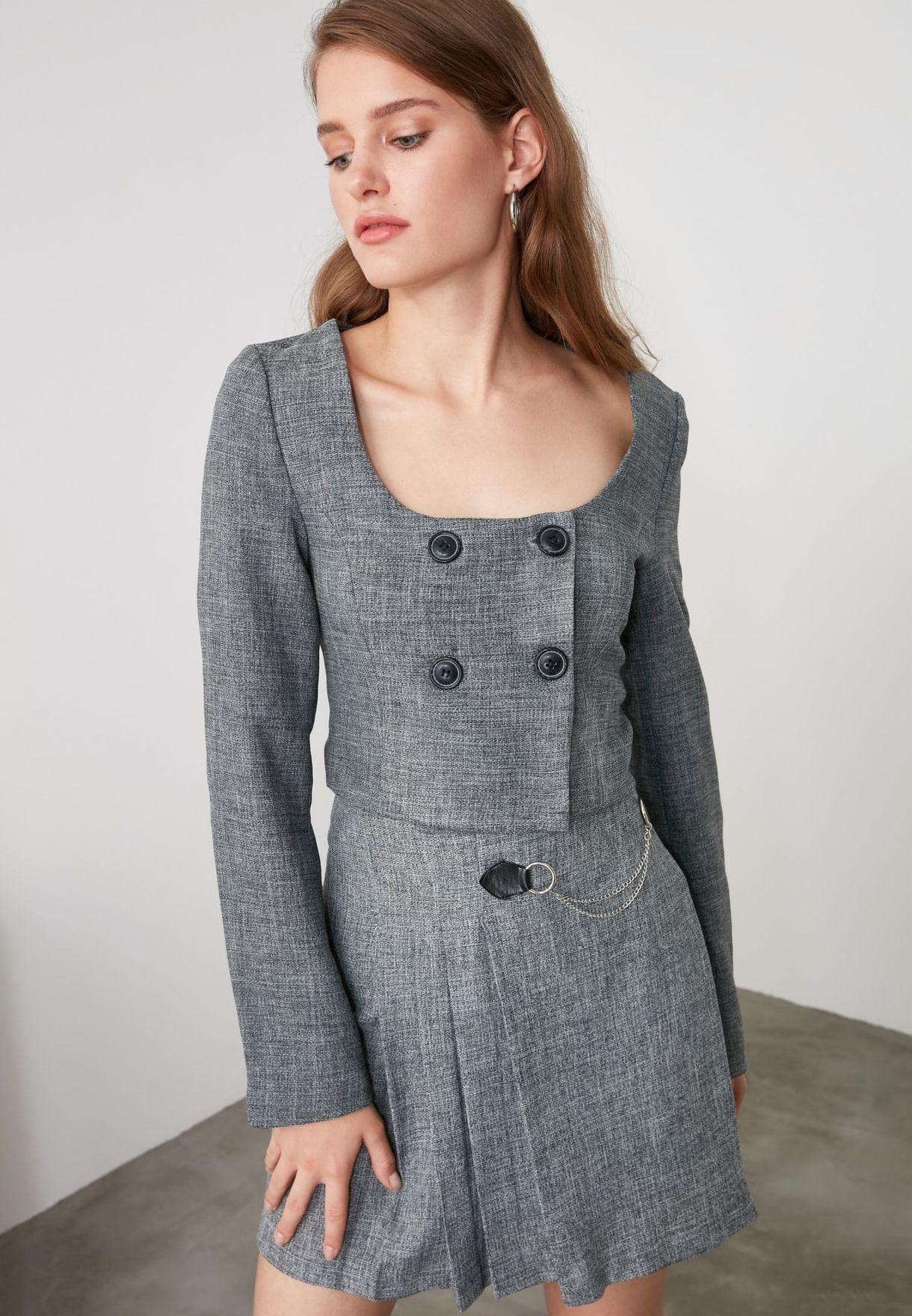 Button Detail Crop Jacket