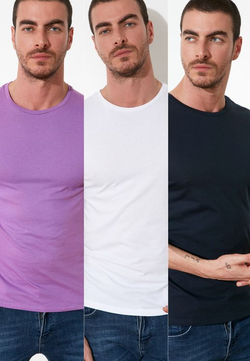 3 Pack Assorted Crew Neck T-Shirt