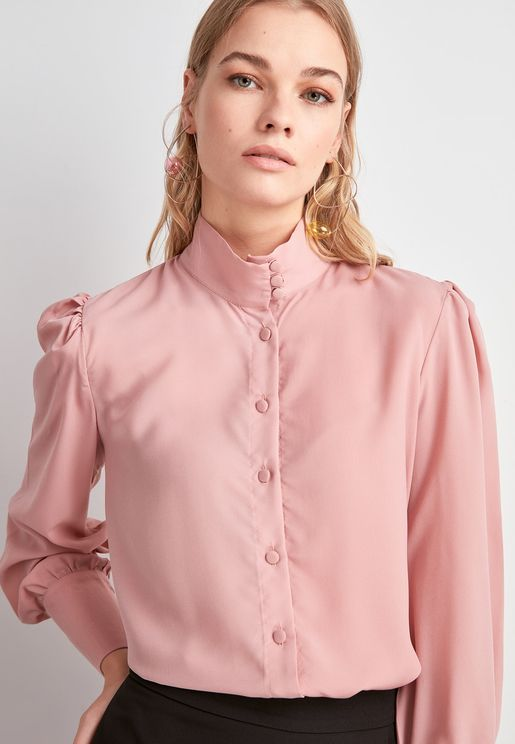High Neck Puff Sleeve Shirt
