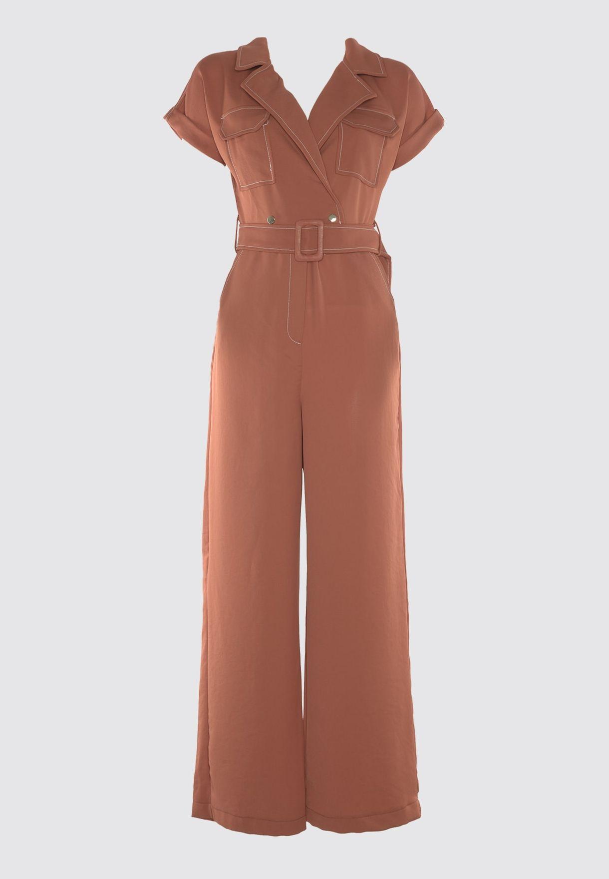 Pocket Detail Wide Leg Jumpsuit