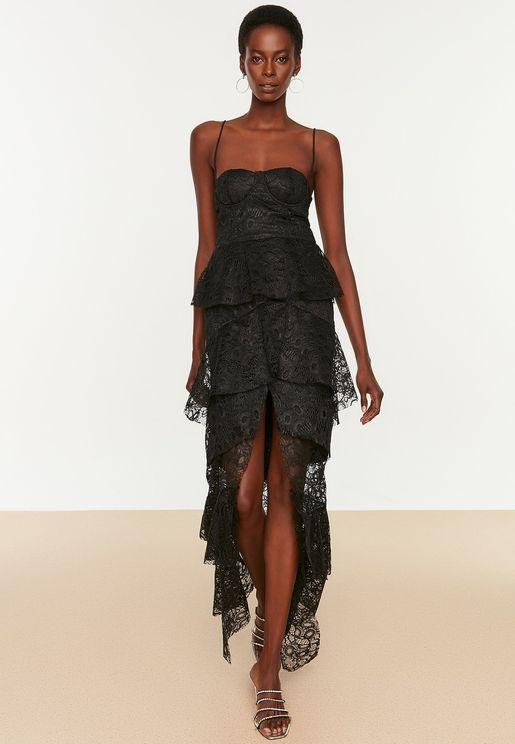 Front Split Layered Lace Dress