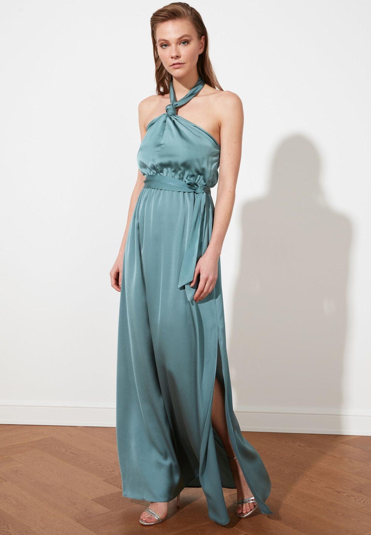 Side Split Halter Neck Dress