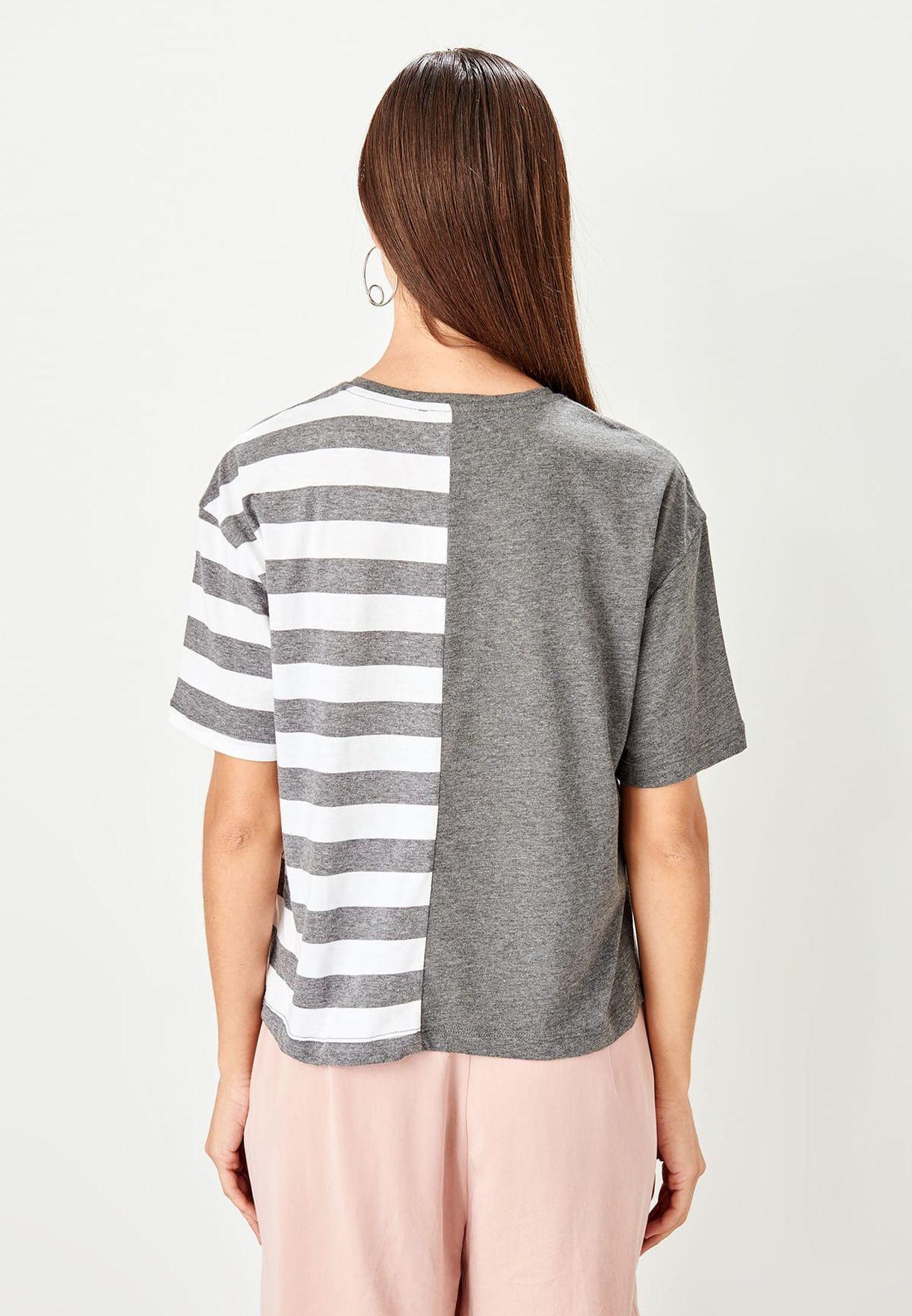 Buy Trendyol Grey Crew Neck Striped T-shirt For Women, Uae 27680atrasgp