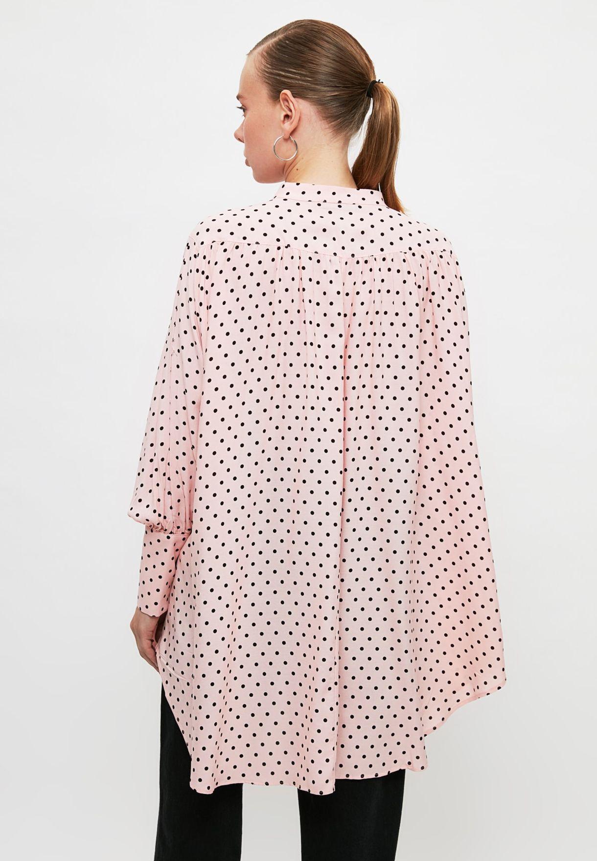 High Neck Dot Print Tunic
