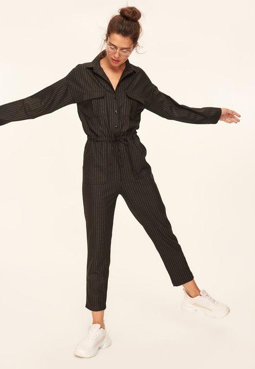 Striped Shirt Jumpsuit